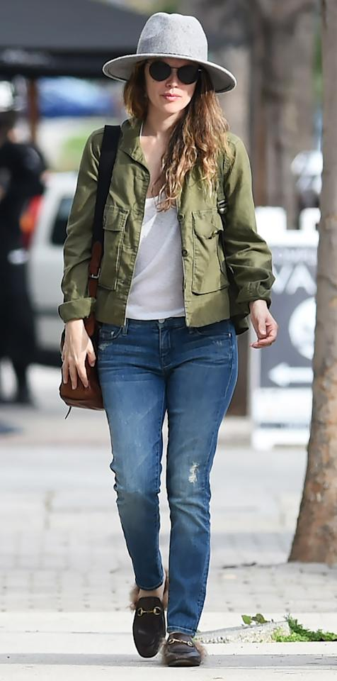 "<p>Making a rare appearance, the <em>O.C. </em>alum stepped out in L.A. wearing an army green cargo jacket, jeans, a gray felt hat, and a pair of fur-lined Gucci slides ($995; <a rel=""nofollow"" href=""http://www.anrdoezrs.net/links/7799179/type/dlg/sid/ISGucciRachelBilsonIJFeb/https://www.ssense.com/en-us/men/product/gucci/black-princetown-slip-on-loafers/1790353"">ssense.com</a>). </p>"