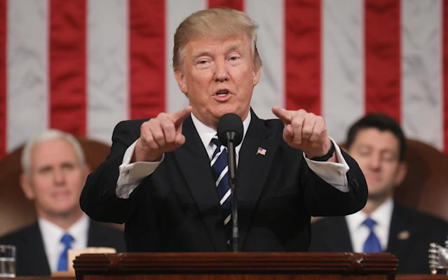 President Trump delivers his first address to a joint session of Congress, Feb. 28, 2017. (Photo: Jim Lo Scalzo/EPA/Pool/Anadolu Agency/Getty Images)