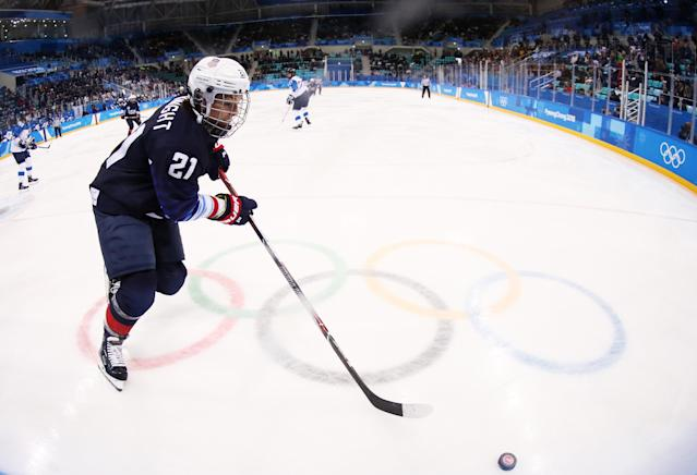 <p>Hilary Knight #21 of the United States play sthe puck against Finland during the Ice Hockey Women Play-offs Semifinals on day 10 of the PyeongChang 2018 Winter Olympic Games at Gangneung Hockey Centre on February 19, 2018 in Pyeongchang-gun, South Korea. (Photo by Jamie Squire/Getty Images) </p>