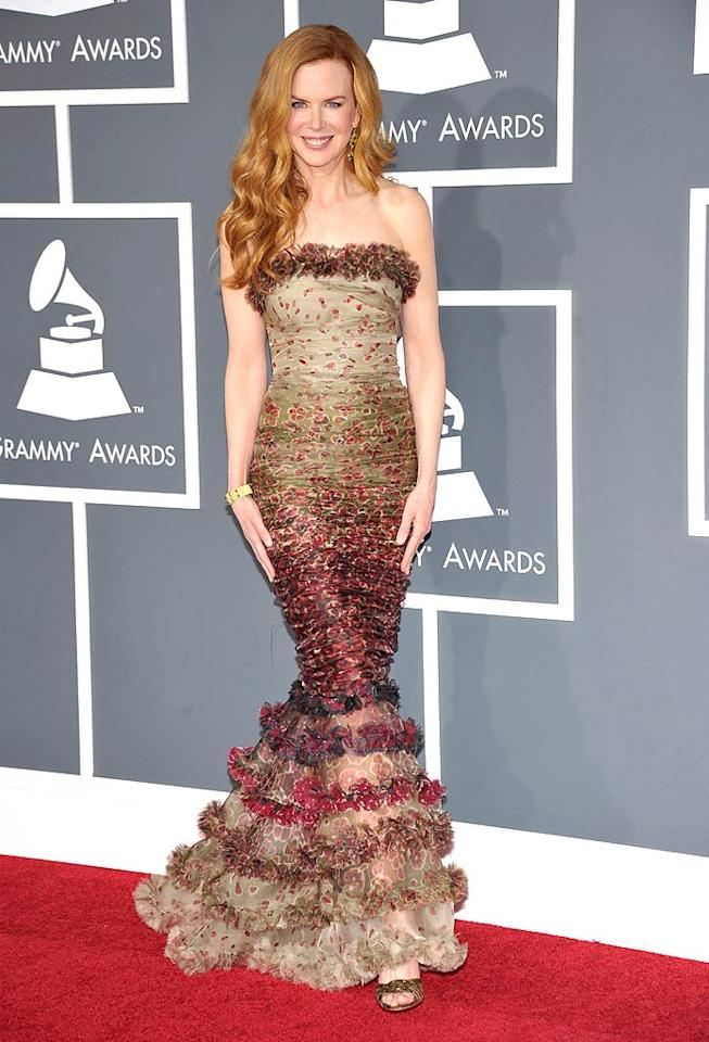 """Last, but certainly not least ... Nicole Kidman, who delivered our favorite Grammy look thanks to her Jean Paul Gaultier mermaid gown and luxurious locks. John Shearer/<a href=""""http://www.wireimage.com"""" target=""""new"""">WireImage.com</a> - February 13, 2011"""