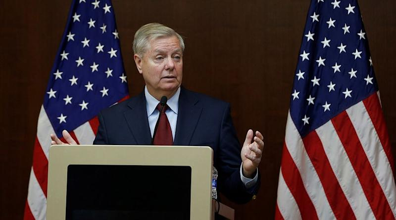 Graham, the U.S. Senator from South Carolina, has thrown political weight behind building a casino in North Carolina—one the Panthers might find uncomfortably close to their home stadium. | Murat Kaynak/Anadolu Agency/Getty Images