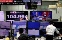 Monitors display news on 2020 U.S. presidential election and the Japanese yen exchange rate against the U.S. dollar at a foreign exchange trading company in Tokyo