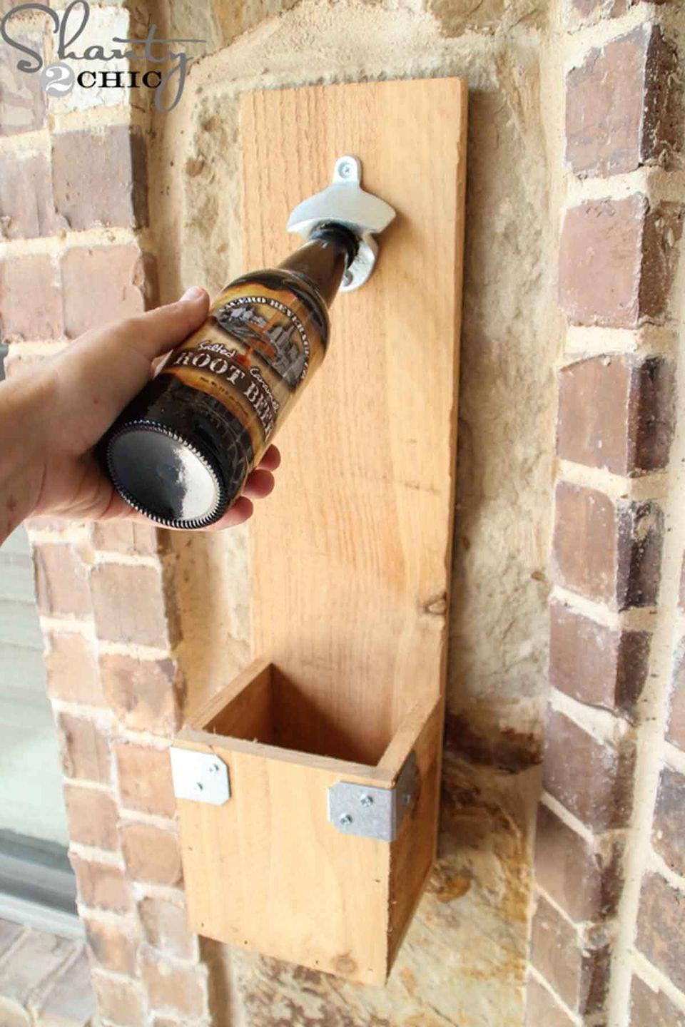 """<p>Assemble this unique and practical bottle opener for dad, which is the perfect addition for any man cave.</p><p><em><strong>Get the tutorial at </strong><a href=""""http://www.shanty-2-chic.com/2014/06/diy-bottle-opener.html"""" rel=""""nofollow noopener"""" target=""""_blank"""" data-ylk=""""slk:Shanty2Chic"""" class=""""link rapid-noclick-resp""""><strong>Shanty2Chic</strong></a><strong>. </strong></em></p>"""