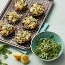 """<p>Roasted portobello mushrooms stand in for pizza crust in these comforting individual """"pizzas."""" An easy arugula side salad makes a vibrant accompaniment. <a href=""""http://www.eatingwell.com/recipe/279108/mediterranean-portobello-mushroom-pizzas-with-arugula-salad/"""" rel=""""nofollow noopener"""" target=""""_blank"""" data-ylk=""""slk:View recipe"""" class=""""link rapid-noclick-resp""""> View recipe </a></p>"""