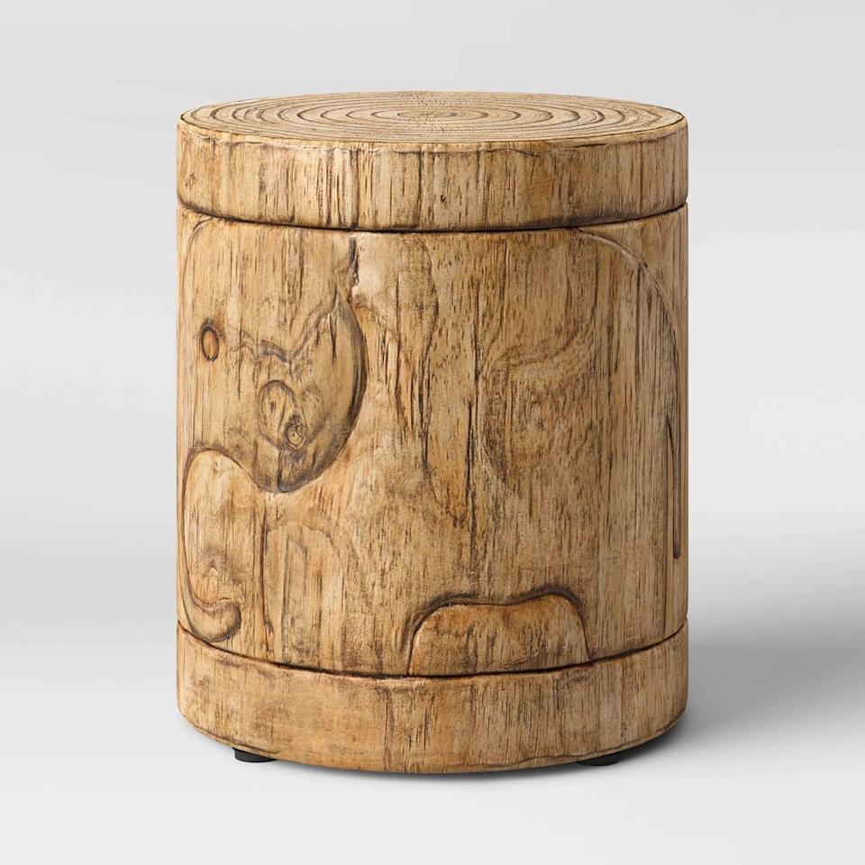 <p>Need more table space? The <span>Faux-Wood Elephant Patio Accent Table</span> ($99) is a great solution.</p>