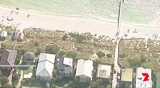 Aerial scenes of Chelsea Beach, where the body was found. Photo: 7 News