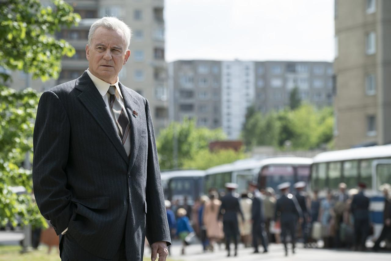 "<p>Boris Shcherbina (played by Stellan Skarsgard) was the <a href=""http://www.history.com/news/chernobyl-disaster-coverup"" target=""_blank"">deputy head of the Soviet government</a> in charge of the investigation after the Chernobyl disaster hours after the accident. When he arrived in Pripyat (the city near the plant), he rejected to suggest an order for mass evacuation, saying, ""<a href=""http://www.hoover.org/research/taking-apparatchiks"" target=""_blank"">Panic is worse than radiation</a>."" The town would not be evacuated until <a href=""http://www.washingtonpost.com/archive/politics/1986/05/07/the-nuclear-accident-in-chernobyl/d04b2694-be81-420e-b0cb-f2443b8e042f/?utm_term=.759e2501810f"" target=""_blank"">36 hours after the explosion</a>.</p> <p>He <a href=""http://www.washingtonpost.com/archive/politics/1986/05/07/the-nuclear-accident-in-chernobyl/d04b2694-be81-420e-b0cb-f2443b8e042f/?utm_term=.759e2501810f"" style=""background-color: rgb(255, 255, 255);"" target=""_blank"">died in 1990 at age 70</a>, and it's not clear if he died of radiation or not, given that he ordered the construction of a new town in the highly contaminated area. In a secret 1988 decree that he helped form, Soviet doctors could not cite radiation as a cause of death or illness.</p>"