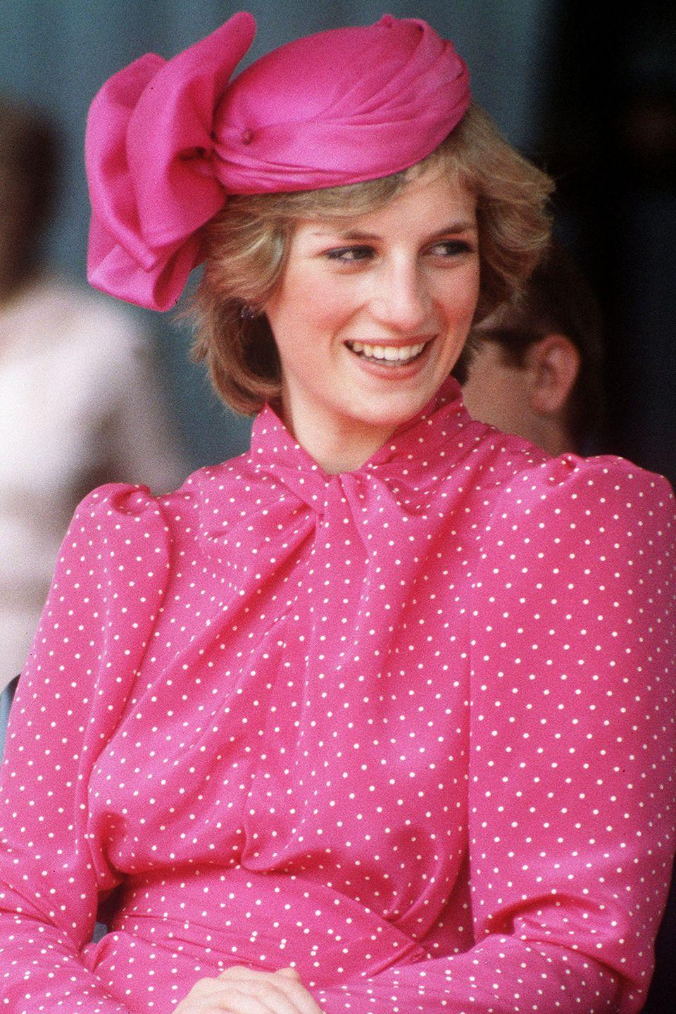 <p>In a bright pink silk fascinator by John Boyd while visiting Perth, Australia.</p>
