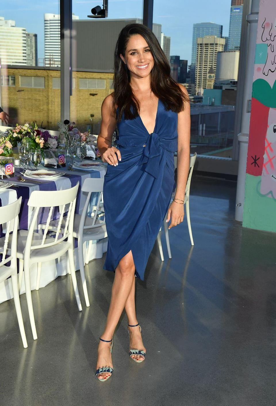 <p>And Meghan took a cue from her future sister-in-law by wearing a dress in the same color, also featuring detailing around the waist, at a dinner for Instagram in 2016. </p>