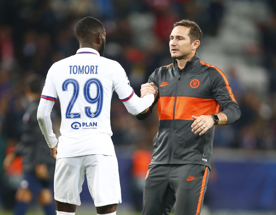 Chelsea manager Frank Lampard  shanks hands with Chelsea's Fikayo Tomori during UAFA Champion League Group H between Lillie OSC and Chelsea at Stade Pierre-Mauroy Stadium , Lillie, France on 02 October 2019    (Photo by Action Foto Sport/NurPhoto via Getty Images)