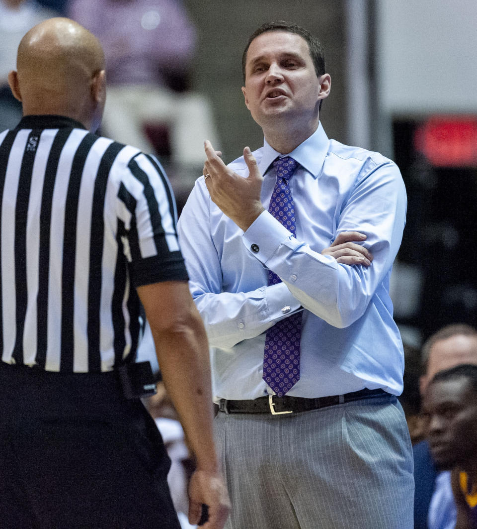 LSU head coach Will Wade argues a call against Alabama during the first half of an NCAA college basketball game Saturday, March 2, 2019, in Tuscaloosa, Ala. (AP Photo/Vasha Hunt)
