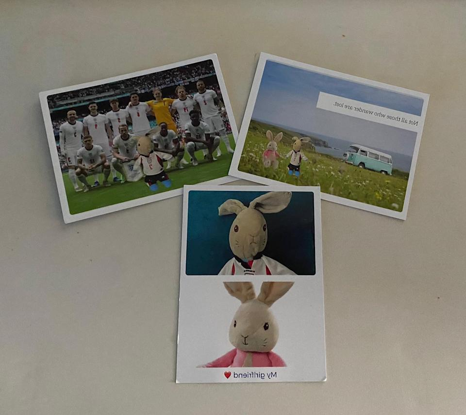 Post cards Ethan Mccann has received.. See SWNS copy SWPLrabbit: A boy who lost his precious Peter Rabbit toy on a bus has received postcards from around the world from people saying they are Peter - and he is just on holiday. The little rabbit, dressed in a tiny replica of David Beckham's kit from the 1998 World Cup, went missing on a bus ride in Torbay. His six-year-old owner Ethan Mccann was left heartbroken – after multiple attempts to locate the missing bunny were unsuccessful.
