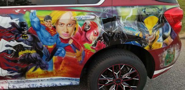 PHOTO: The 'Equinox' is adorned with images of fictional and real life superheroes. (Pamela Barry)