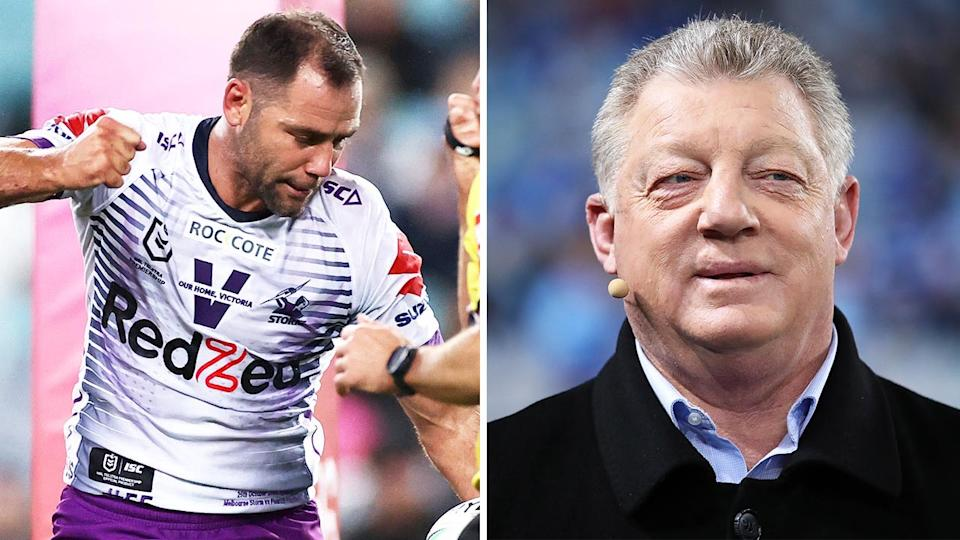 Cameron Smith (pictured left) celebrating a try and Gus Gould (pictured right) during commentary. (Getty Images)