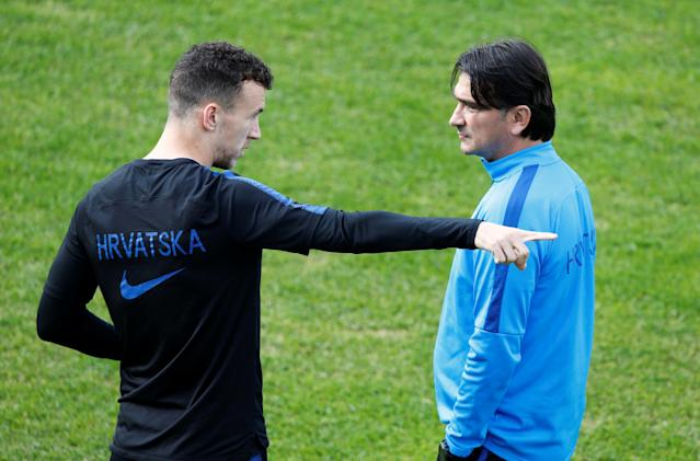 Soccer Football - World Cup - Croatia Training - Croatia Training Camp, Roschino, Russia - June 23, 2018 Croatia's Ivan Perisic and coach Zlatko Dalic during training REUTERS/Anton Vaganov