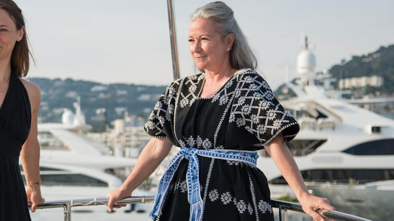 Colleen DeCourcy aboard a yacht
