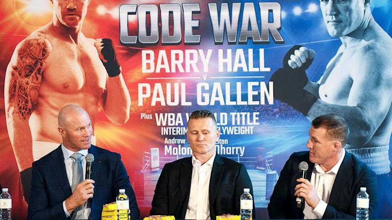 Barry Hall and Paul Gallen seen here at a press conference before their fight.