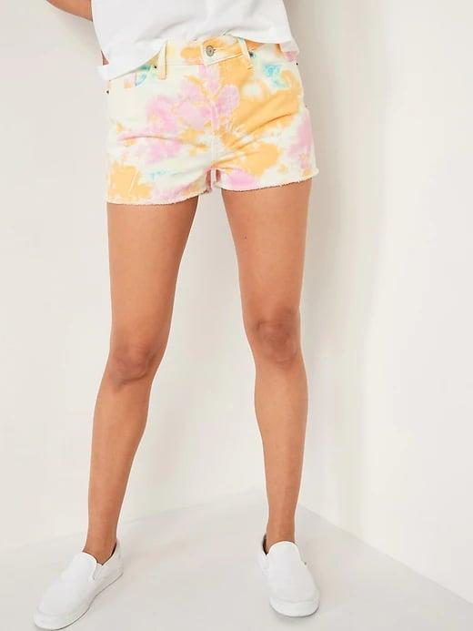 <p>Swap out your basic blues for a colorful, statement-making pair of <span>Old Navy High-Waisted O.G. Tie-Dye Button-Fly Jean Shorts</span> ($35, originally $40) this summer.</p>