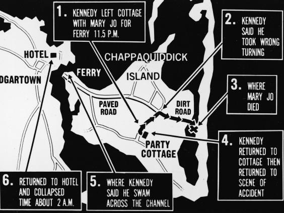 A map of Chappaquiddick island, detailing how the events unfolded (Getty)