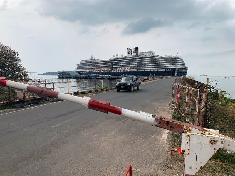 A general view of the security checkpoint in front of cruise ship MS Westerdam at dock in the Cambodian port of Sihanoukville, Cambodia
