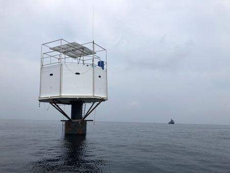 Floating home is pictured in the Andaman Sea, off Phuket island