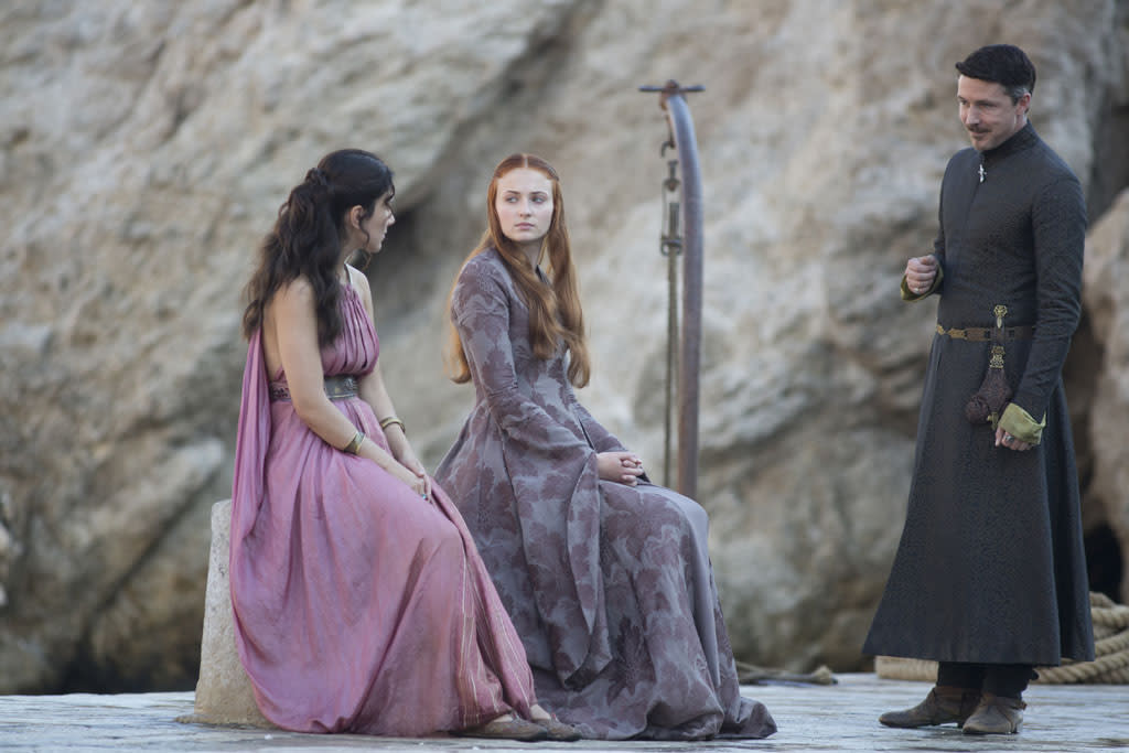 "Sibel Kekilli, Sophie Turner and Aidan Gillen in the ""Game of Thrones"" Season 3 premiere, ""Valar Dohaeris."""