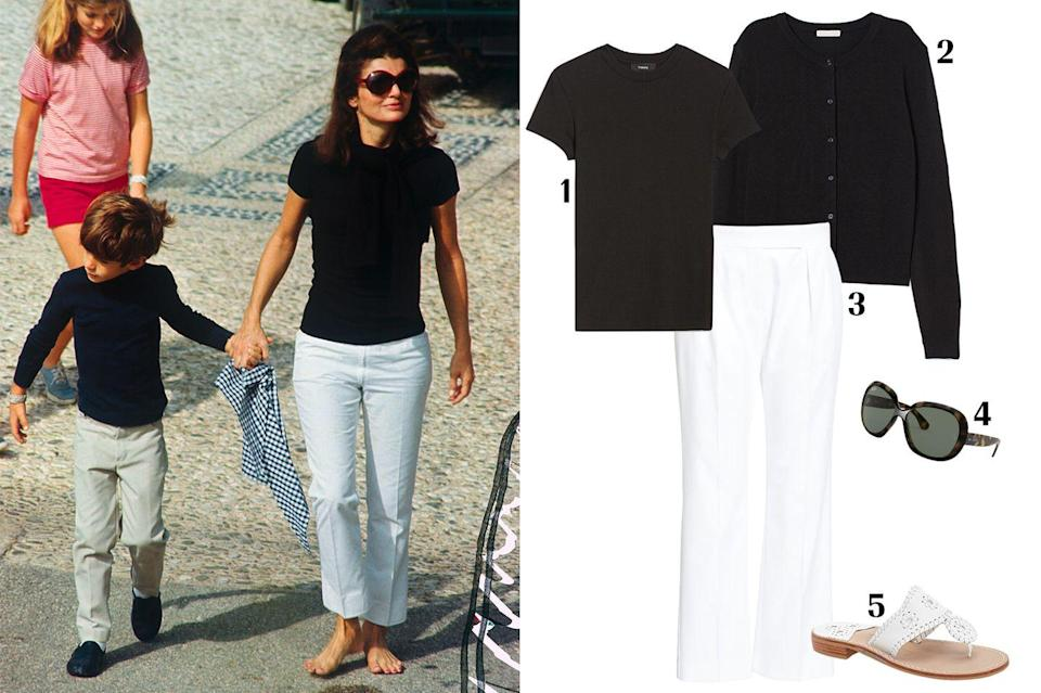 """<p>Here's Jackie O in an iconic casual look while in Rome in 1968. The former first lady proves that even the simplest outfits can be effortlessly chic. Look like a style icon in a fitted t-shirt, tie a cardigan around your neck, add some cropped white trousers, and finish things off with her signature oversized sunglasses. Jackie O is seen barefoot in this photo, but you can complete your look with a pair of her beloved Jack Roger sandals.</p><p><strong> 1. </strong><em><a href=""""https://www.theory.com/tiny-tee-2/J0124528.html?glCountry=US&glCurrency=USD&utm_campaign=tinuiti_organicshopping&utm_medium=organic&utm_source=google"""" rel=""""nofollow noopener"""" target=""""_blank"""" data-ylk=""""slk:Theory Tiny Tee"""" class=""""link rapid-noclick-resp"""">Theory Tiny Tee</a>, $120; </em><strong>2. </strong><em><a href=""""https://www2.hm.com/en_us/productpage.0579541001.html"""" rel=""""nofollow noopener"""" target=""""_blank"""" data-ylk=""""slk:H&M cardigan"""" class=""""link rapid-noclick-resp"""">H&M cardigan</a>, $13; </em><strong>3. </strong><em><a href=""""https://shop.nordstrom.com/s/max-mara-lucas-straight-leg-gabardine-ankle-pants/5483004?country=US¤cy=USD&mrkgadid=3341903942&mrkgcl=760&mrkgen=glia&mrkgbflag=0&mrkgcat=&utm_content=69793397965&utm_term=aud-327479598175:pla-296303633664&utm_channel=low_nd_shopping_lia&sp_source=google&sp_campaign=664982305&adpos=&creative=353863495859&device=c&matchtype=&network=g&acctid=21700000001689570&dskeywordid=92700049882791740&lid=92700049882791740&ds_s_kwgid=58700005468304941&ds_s_inventory_feed_id=97700000007631122&dsproductgroupid=296303633664&product_id=27269276&merchid=1243147&prodctry=US&prodlang=en&channel=local&storeid=538&locationid=9004545&targetid=aud-327479598175:pla-296303633664&campaignid=664982305&adgroupid=69793397965&gclid=Cj0KCQjw6PD3BRDPARIsAN8pHuF7ZpnMSRx7LDQ5gbryp_v9EoPPD7Jw96wqlNFyg5FmUZLiVKSkl-YaAouTEALw_wcB&gclsrc=aw.ds"""" rel=""""nofollow noopener"""" target=""""_blank"""" data-ylk=""""slk:Max Mara trousers"""" class=""""link rapid-noclick-resp"""">Max Mara trousers</a>, $312;"""