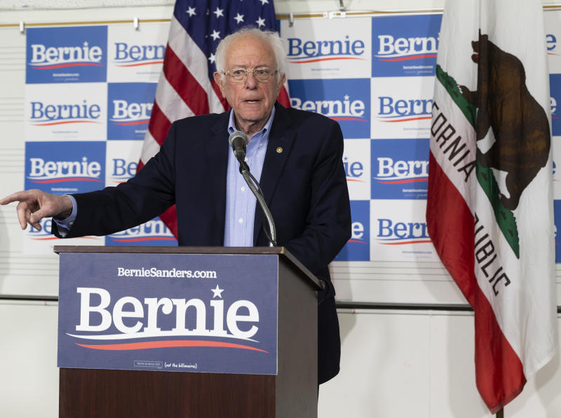 Democratic presidential candidate Sen. Bernie Sanders, I-Vt., speaks at a campaign event at Valley High School in Santa Ana, Calif., Friday, Feb. 21, 2020. (AP Photo/Damian Dovarganes)