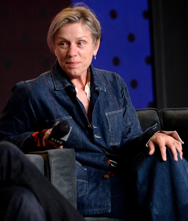 Frances McDormand, pictured in September at the Toronto Film Festival, has been wearing one silver or platinum band on her ring finger as of late. (Photo: GP Images/WireImage)