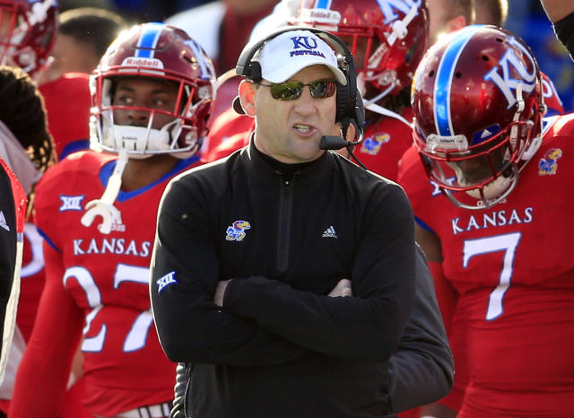 David Beaty is the first Kansas coach to win a road game since Mark Mangino. (AP Photo/Orlin Wagner, File)