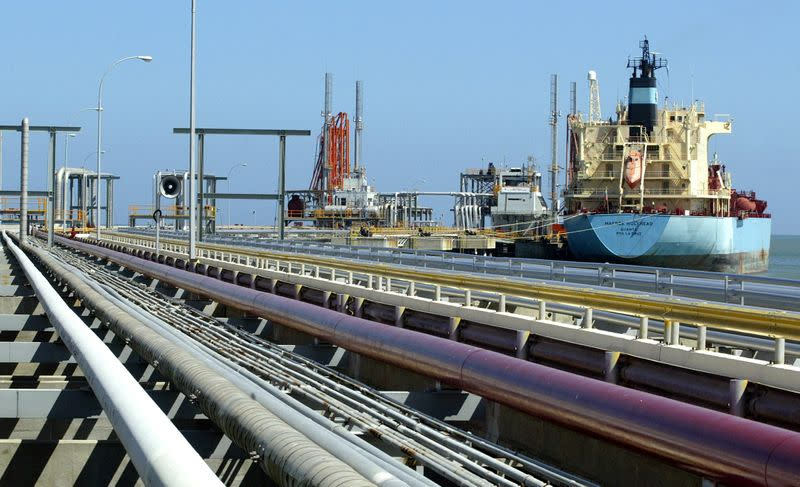 FILE PHOTO: An oil tanker is seen at Jose refinery cargo terminal in Venezuela in this unda..