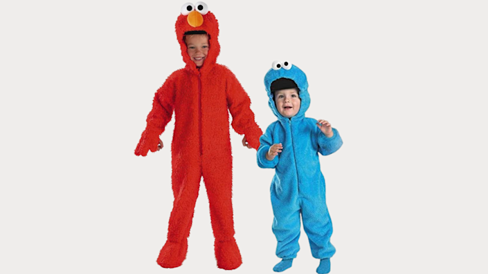 Sibling Halloween costumes: Elmo and Cookie Monster
