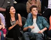 """<p>Gomez and Bieber made their debut as a couple at the <em>Vanity Fair </em>Oscar party in 2011, which led to Bieber renting out the entire Staples Center for their date night. They <a href=""""https://people.com/music/justin-bieber-selena-gomez-relationship-timeline/?slide=5988087#5988087"""" rel=""""nofollow noopener"""" target=""""_blank"""" data-ylk=""""slk:broke things off"""" class=""""link rapid-noclick-resp"""">broke things off</a> at the end of 2012, confirmed they were back together in September 2014, then broke things off that November. They seemed to be heating up again toward the beginning of 2018, then were done for good. In 2019, Gomez released """"<a href=""""https://www.elle.com/culture/music/a29553902/selena-gomez-lose-you-to-love-me-lyrics-meaning-justin-bieber/"""" rel=""""nofollow noopener"""" target=""""_blank"""" data-ylk=""""slk:Lose You to Love Me"""" class=""""link rapid-noclick-resp"""">Lose You to Love Me</a>"""" about her turbulent relationship with Bieber. </p>"""