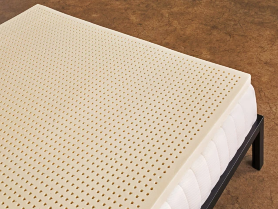 """<p>sleeponlatex.com</p><p><strong>$85.00</strong></p><p><a href=""""https://sleeponlatex.com/products/natural-latex-mattress-topper?variant=397777249"""" rel=""""nofollow noopener"""" target=""""_blank"""" data-ylk=""""slk:Shop Now"""" class=""""link rapid-noclick-resp"""">Shop Now</a></p><p>For a customized mattress topper, Sleep on Latex offers three variations in thickness as well as firmness. Their products are made from natural latex harvested from rubber trees, which gives them superior durability, comfort, and breathability. </p>"""