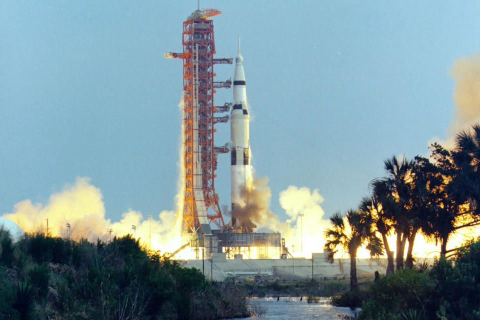 In this April 11, 1970 photo made available by NASA, the Saturn V rocket carrying the crew of the Apollo 13 mission to the moon launches from the Kennedy Space Center in Florida. (NASA via AP)