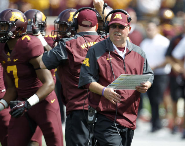 Minnesota coach Jerry Kill watches his team during the third quarter of an NCAA college football game against San Jose State in Minneapolis on Saturday, Sept. 21, 2013. Minnesota won 43-24. (AP Photo/Ann Heisenfelt)