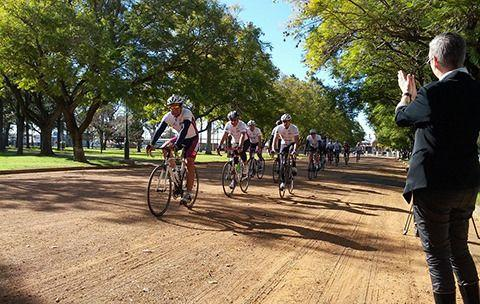 Riders arriving in town. Photo: Carer's Australia