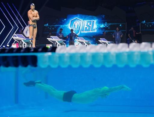 21st century: An acrylic pool wall gives an underwater view as swimmers train for the International Swimming League (ISL) final at Mandalay Bay in Las Vegas, Nevada