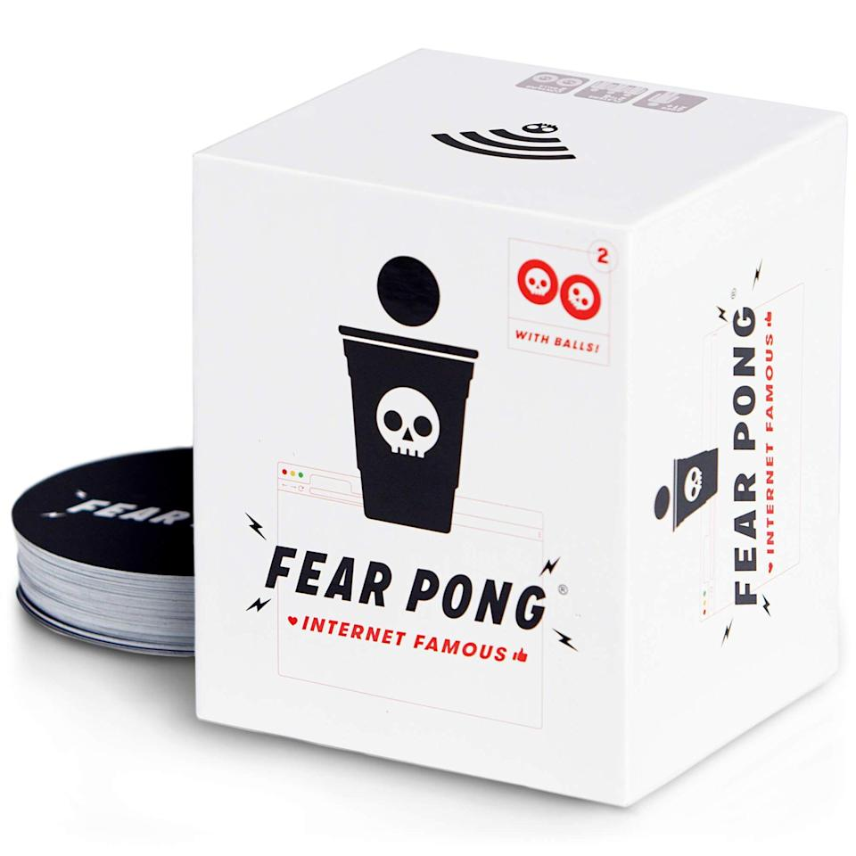 "<p><strong>The Cut</strong></p><p>cut.com</p><p><strong>$25.00</strong></p><p><a href=""https://buy.cut.com/products/fear-pong-game?gclid=CjwKCAjw07qDBhBxEiwA6pPbHuRcx2mkxBhMyzvfAzFAjwU2TDfPjWePaf3106GdlBR1LFCHfb4ThBoCioAQAvD_BwE&variant=31599106228320"" rel=""nofollow noopener"" target=""_blank"" data-ylk=""slk:SHOP NOW"" class=""link rapid-noclick-resp"">SHOP NOW</a></p><p>You're going to want to practice your aim before you play a game of Fear Pong. It's played the same way as your traditional Beer Pong, but every time your opponent scores a point, you gotta pick a card from the deck and follow that dare. I wish you and your future drunk self the best of luck for this one.</p>"