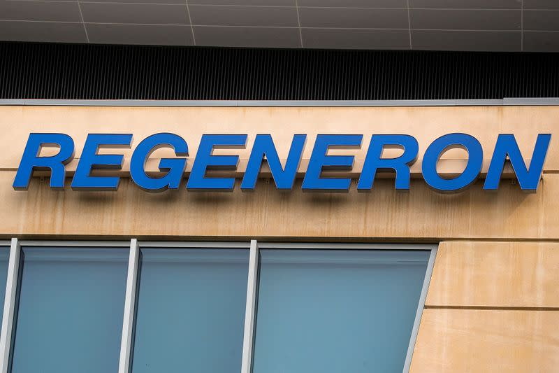 FILE PHOTO: The Regeneron Pharmaceuticals company logo is seen on a building at the company's Westchester campus in Tarrytown, New York