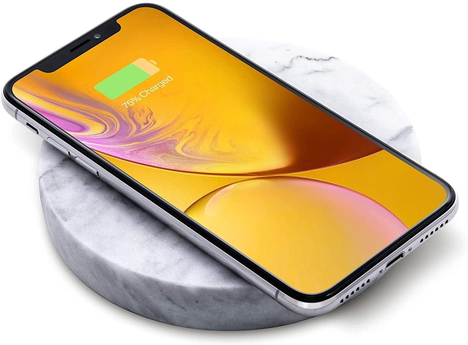 <p>Charge any QI-certified device in style with this ultrachic <span>Eggtronic Wireless Charging Stone in White Marble</span> ($39, originally $60).</p>