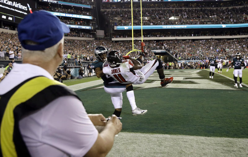 The Eagles prevailed after the Falcons' Julio Jones failed to stay in bounds after catching a pass on the game's final play. (AP)