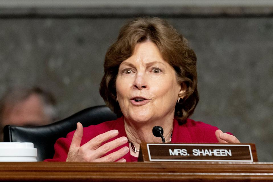 Sen. Jeanne Shaheen, D-N.H., speaks during a hearing on Capitol Hill on March 25.