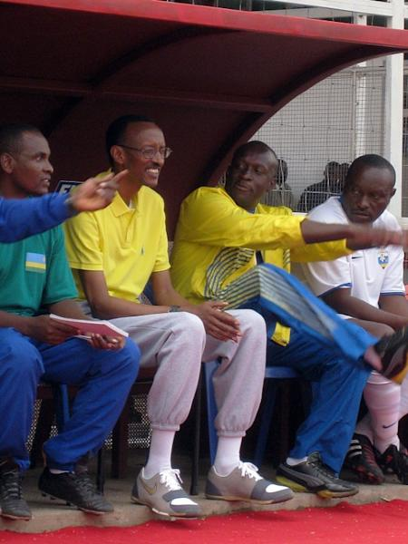 Football diplomacy featured large in Kagame's visit to neighbouring Burundi in 2008. Kagame, second from left, watched a match with his former sports minister, Joe Habineza. Football-mad Burundian President Pierre Nkurunziza has his own team, Allelua