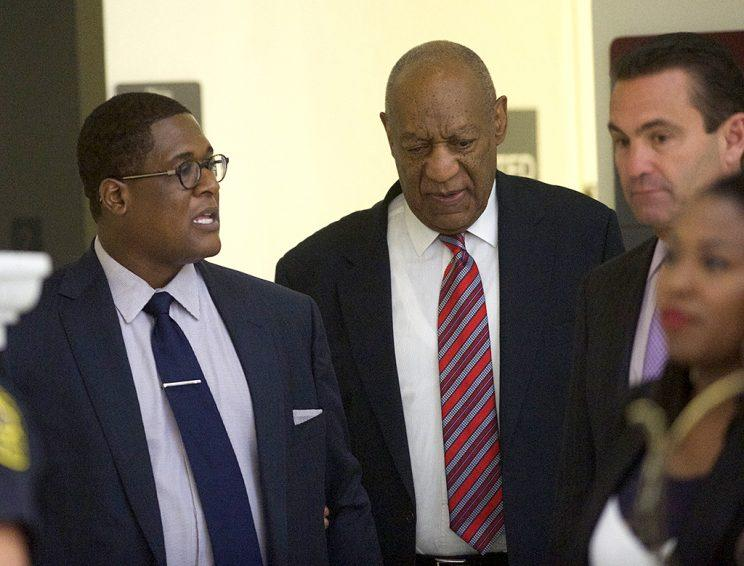 Bill Cosby (R) walks with aide Andrew Wyatt (L) during a break on the third day of Cosby's trial on sexual assault charges in the Montgomery County Courthouse June 7, 2017 in Norristown, Pennsylvania. A former Temple University employee alleges that the entertainer drugged and molested her in 2004 at his home in suburban Philadelphia. More than 40 women have accused the 79-year-old entertainer of sexual assault. (Photo: Mark Makela/Getty Images)