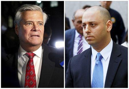 A combination photo shows: Former New York state Senate Majority Leader Dean Skelos (L) exiting the Manhattan federal court house in New York on December 8, 2015 and his son Adam Skelos (R) exiting the Manhattan federal court house in New York, U.S. on May 12, 2016.   REUTERS/Brendan McDermid/File Photos
