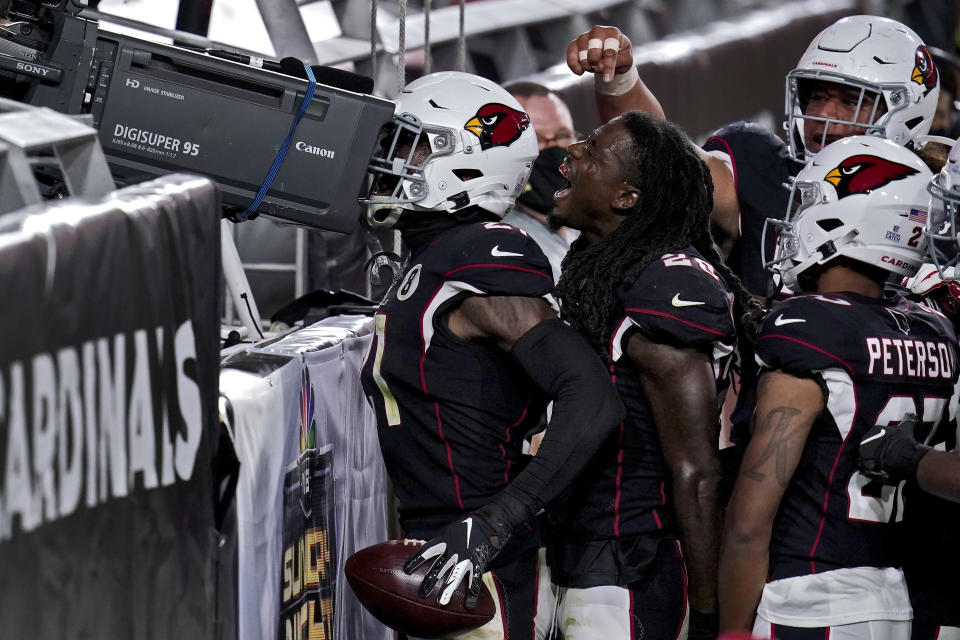 Arizona Cardinals cornerback Patrick Peterson looks into a television camera after making an interception against the Seattle Seahawks during the second half of an NFL football game, Sunday, Oct. 25, 2020, in Glendale, Ariz. (AP Photo/Ross D. Franklin)