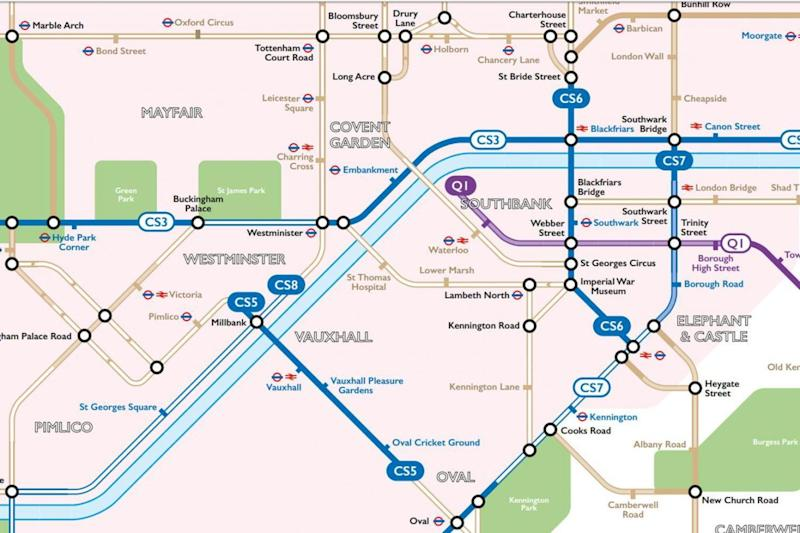 Stylised: the map employs the classic Tube map format (Route Plan Roll)