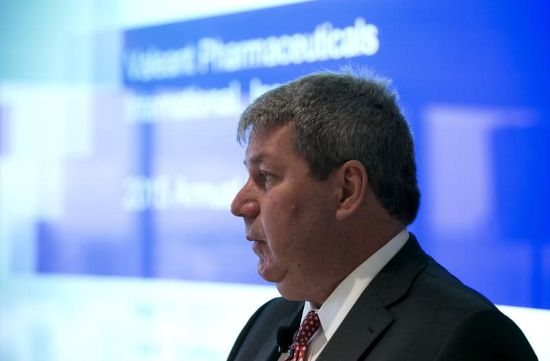 Michael Pearson, chairman of the board and chief executive officer of Valeant Pharmaceuticals International Inc, speaks during their AGM in Laval Quebec