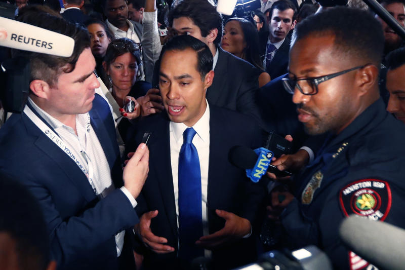 Juliàn Castro interviewed after the debate in Houston. (Photo: Jonathan Bachman/Reuters)